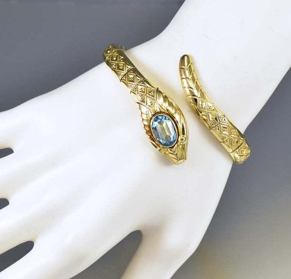 Snake Bracelet Art Deco Bracelet Bangle Aquamarine Rolled