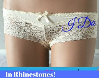 Small - Personalize Something Beige BRIDAL Lingerie Lace BRIDE in rhinestones size Small  -Ships in 24hrs