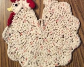 Crocheted Chicken/Rooster Hot Pad/Pot Holder Kitchen Decoration