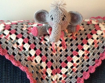 Crochet Grey, Raspberry, and White Elephant Baby Afghan Lovey