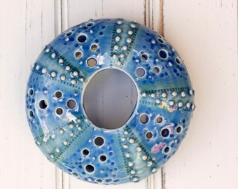 medium urchin wall hanging, urchin tabletop sculpture, blue