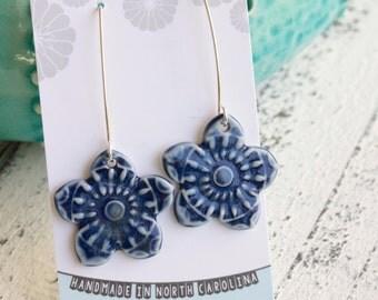 long dangle flower earrings in navy