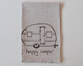Linen Tea Towel - Happy Camper - Vintage Trailer design - Choose your fabric and ink color