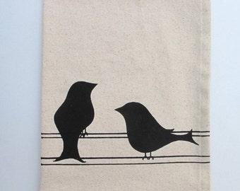 Cotton Kitchen Towel - Two Birds - Choose your ink color