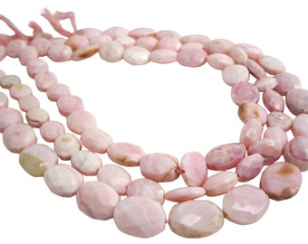 Pink Opal Beads, Pink Peruvian Opal, 13mm x 16mm, Faceted Oval, Pink Opal Oval, SKU 3975A