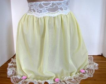 Pretty Vintage Style Sheer Pale Lemon Yellow Sheer Slip / Skirt  4 your Sissy Panties Sizes XS S M L XL