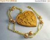 Heart necklace ... gold polymer clay stamped heart on gold chain with matching pearls ... heart of gold