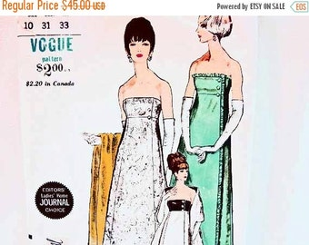 on SALE 1960s Evening Dress Pattern Vogue Special Design Misses size 10 Womens Evening Gown with Stole Vintage Sewing Pattern