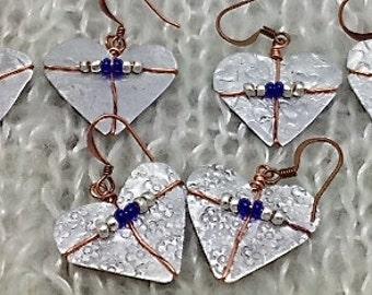 ONSALE Silver Tin Heart Earrings - Recycled Tin Heart Earrings. January sales.