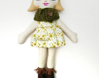 Blond Cloth Doll, Rag Doll with glasses and cowl