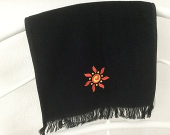 Black Fingertip towel with Embroidered SUMMER SUN