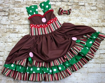 Girls Christmas Outfits Boutique - Gingerbread Dresses - Outfits for Christmas - Holiday Costume - Toddler Girl Dress - 6 mos to 8 yrs