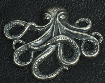 Stamped Octopus Charm, sold 2 each , 15284CS