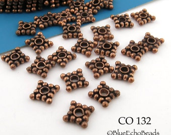 7mm Square Copper Spacer Beads, Genuine Copper Square Rondelle  (CO 132)  14 pcs BlueEchoBeads