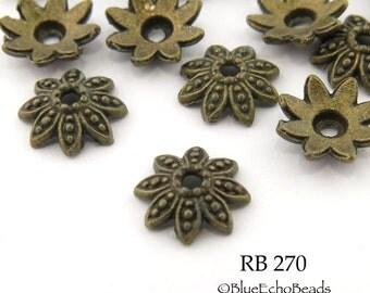 14mm Large Antique Brass Bead Cap, Flower Bead Cap, Antique Bronze (RB 270) 20 pcs BlueEchoBeads