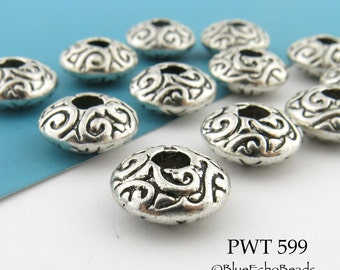 Pewter Spacer Beads Saucer Rondelle with Curls (PWT 599) 8 pcs BlueEchoBeads