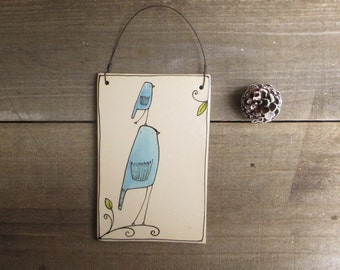 Bird tile, wall art, blue bird hanging tile for spring, garden art, nursery decor