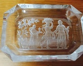 Antique intaglio glass salt or pin dish