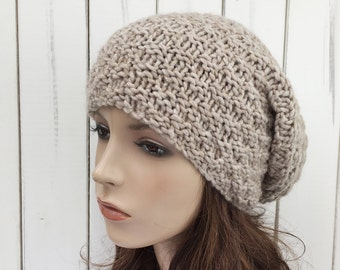 Hand knit hat slouchy wheat Wool Hat woman winter hat