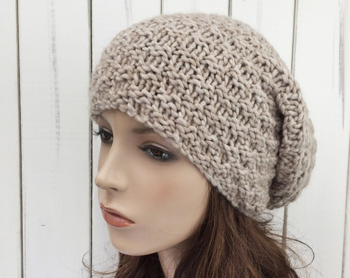 Hand knit hat slouchy wheat Wool Hat woman winter hat