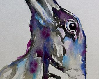 Ansuz, Odin's Ravens Crows Huginn and Muninn original watercolor painting 9x12 runes asatru