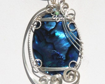 Blue Paua Abalone Sterling Silver Wire sculpted Pendant