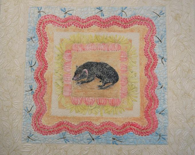 Tassie Devil in the Garden art wall quilt by Cindy Watkins