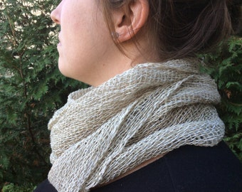 Natural dyed by hand wool and cotton scarf grey natural and brown 10in  x 72 in hemmed. Unisex