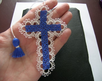 Tatted Lace Cross Bible Bookmark Royal Blue Beautiful Heirloom Quality Keepsake