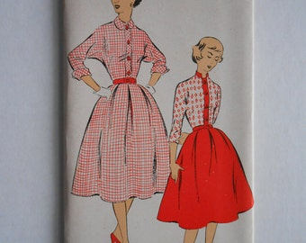 Vintage 50s Shirtwaist Dress Pattern New York 1405 Size 17 Bust 35 UNCUT