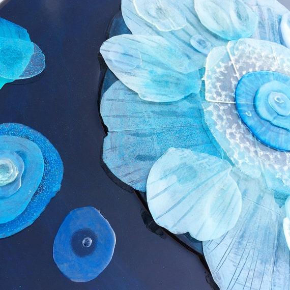 Surfacing Bloom - Original Resin Collage / Painting
