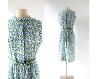 Vintage 1950s Dress | Blue Tulip Dress | 50s Dress | Small S