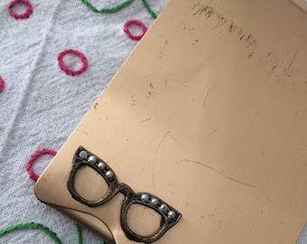 Vintage Gold Tone Mini Eyeglass Tissue Case
