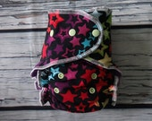One Size Stay Dry Overnight Fitted Cloth Diaper in Rainbow Stars by Soothe Baby
