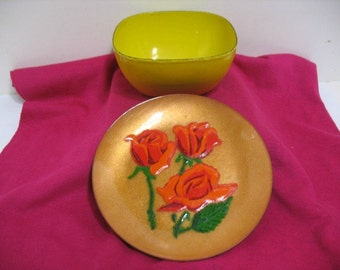 Lot of 2 Vintage Enamel Ware Bowl & Plate Cathrineholm Annemarie Davidson Yellow Flower