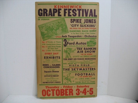 1946 Air Show Festival Poster, Spike Jones & City Slickers and Tex Rankin Aviation + Jack Teagarden, Grape Festival Concert Airplane Poster