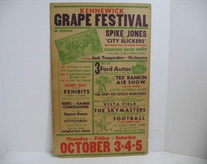 1946 Air Show Festival Poster, Spike Jones & City Slickers and Tex Rankin Aviation + Jack Teagarden, Grape Festival Concert Airplane Poster