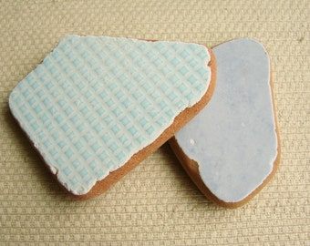 2 Gigantic Tile Shards -- Pastel Blue (TL138) Mediterranean Beach Tiles, Statement tiles, Glazed terracotta sea tiles