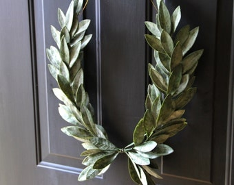 Year-round Everyday Decor  Green Laurel Bay Leaf Crest Wreath  Peace Victory  Wedding Olympic Holiday Christmas Faux Artificial