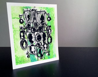 CAMEOS #001 | quirky silhouettes handprinted in textured spring green - a colorful, unique screenprint by Kathryn DiLego (8x10)