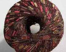 mini ladder glitz yarn . apple orchard . ice yarn 164yds . red caramel olive sparkle lurex railroad ribbon trellis novelty jewelry yarn