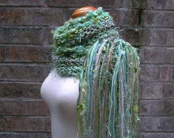 mossy hollow. art yarn knit scarf . warm chunky handmade wool scarf . fall fashion winter accessories . moss mint olive green handknit scarf
