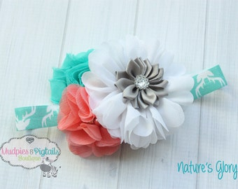 Baby headband { Nature's Glory } coral, white, aqua, grey, Woods, country, hunting Headband, first birthday cake smash photography prop