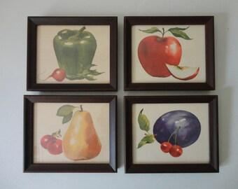 VINTAGE set of 4 framed FRUIT and VEGETABLE watercolor prints
