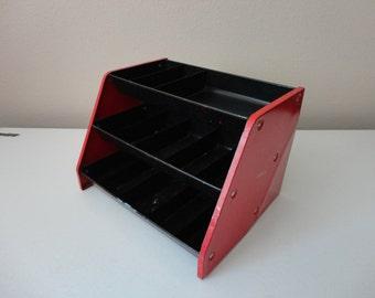 VINTAGE red and black METAL ORGANIZER - for craft supplies, hardware, etc.
