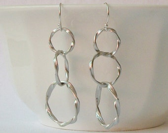 Summer Sale! Silver Twisted Circle  Dangle Earrings
