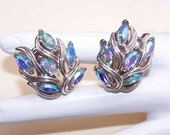 On Reserve - Vintage SILVER TONE Metal & Blue Rhinestone Clip Earrings by Trifari