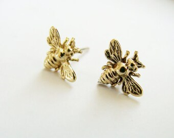 Tiny gold Bee studs - brass and sterling silver metalwork - Gold bee studs - Brass bee studs - Gold Bug Studs - Tiny Insect Studs