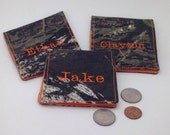 Boy's Camo and Orange Wallet/Realtree Camo Wallet/Personalized Camo Wallet/Embroidered Cotton Camo Wallet/Boy's Gift Idea