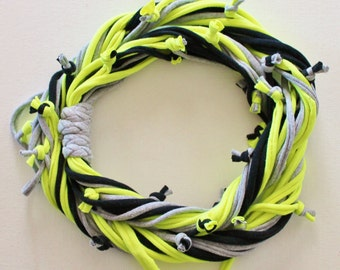 T Shirt Scarf - Infinity Circle Scarves Cotton - Black Neon Yellow Gray Grey Silver Bumblebee Bee Bright